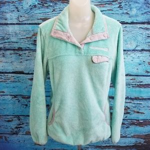 Free Country Sz M Aqua Green Gray Pullover Sweater